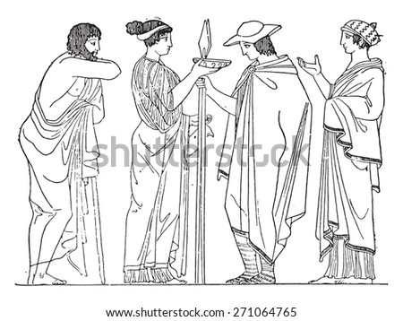 Chlamys rectangular (after of a painted vase), vintage engraved illustration. - stock vector