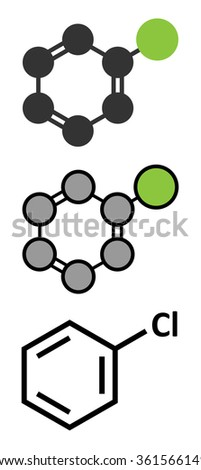 Chlorobenzene industrial solvent molecule. Stylized 2D renderings and conventional skeletal formula.  - stock vector