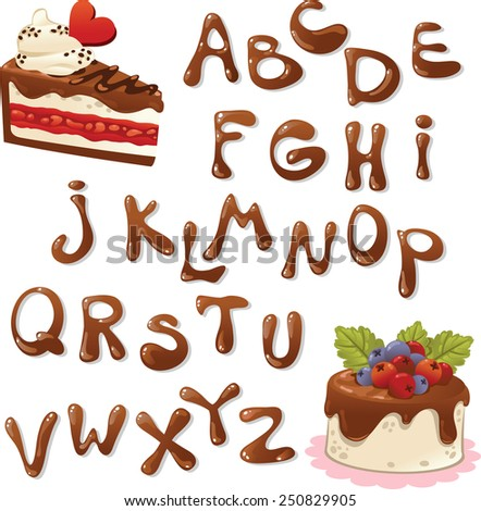 Chocolate Alphabet. - stock vector