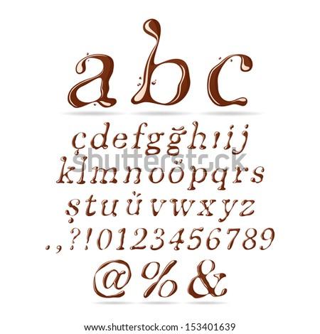 Chocolate Alphabet Lower Case Italic - stock vector