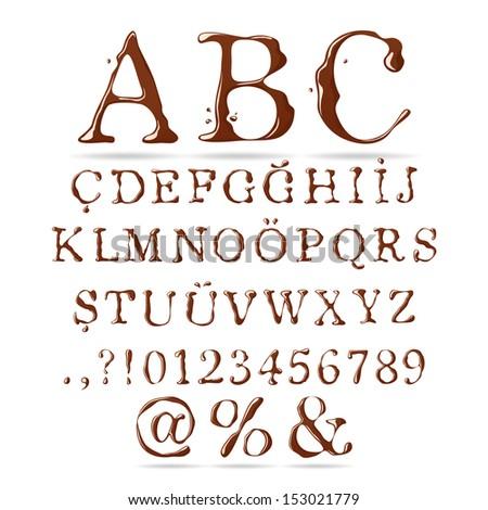 Chocolate Alphabet Upper Case - stock vector