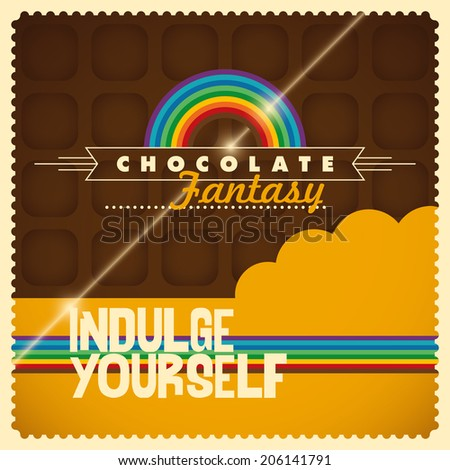 Chocolate background in color. Vector illustration. - stock vector