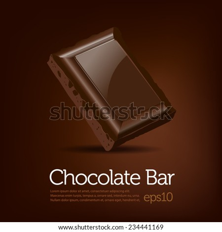 Chocolate bar on brown dark background - stock vector