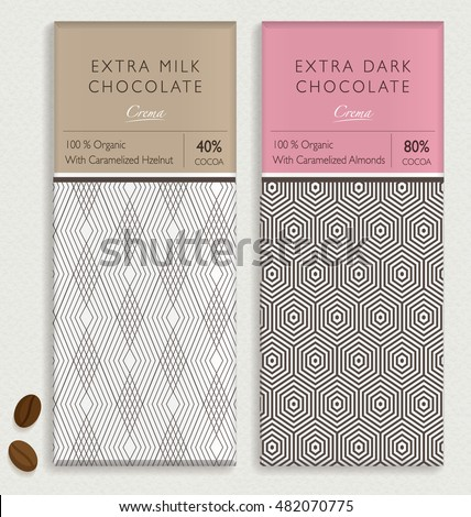 CHOCOLATE BAR PACKAGING MOCK UP. editable vector seamless pattern design element. labels and background in trendy style