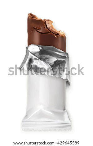 Chocolate bar, white polyethylene wrap, vector object