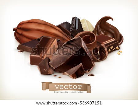 Chocolate bars, candy, slices, shavings and pieces, vector illustration isolated on white