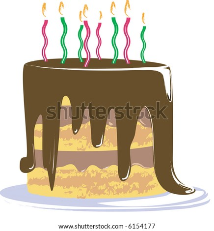 Chocolate Birthday Cake, Happy Birthday - stock vector