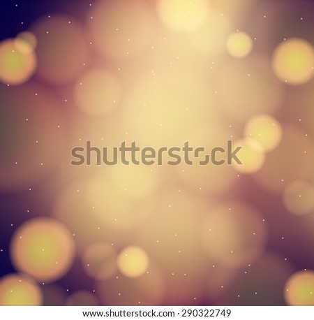 chocolate brown blurred background with golden bokeh and lights - stock vector