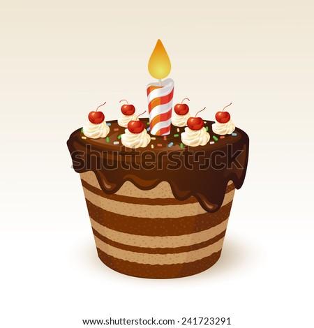 Chocolate cake for birthday - stock vector