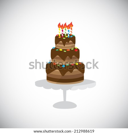 chocolate cake for birthday holiday or any celebration. Vector illustration. Isolated on white background. - stock vector