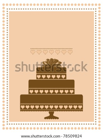Chocolate Cake Invitation or Announcement - stock vector