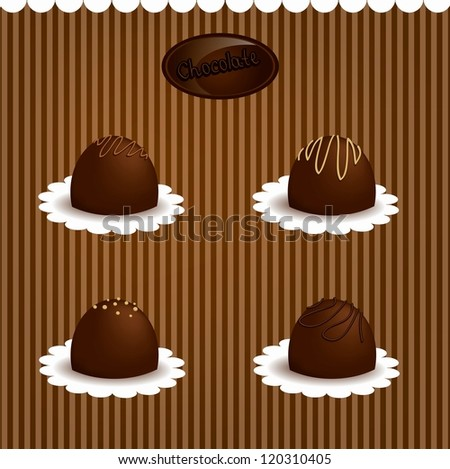 Chocolate candy  set - stock vector