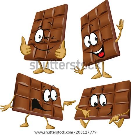 chocolate cartoon with hand gesturing - stock vector