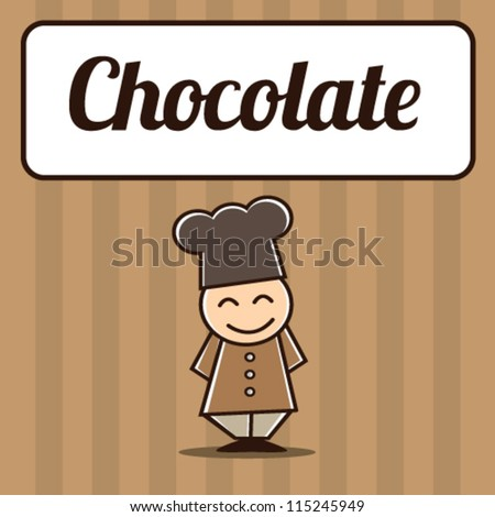 Chocolate Chef Character Mascot Vector Illustration - stock vector
