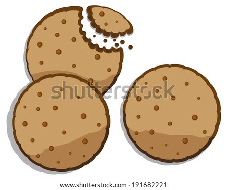 Chocolate chip cookie  - stock vector