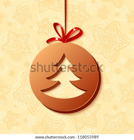 Chocolate Christmas ball with cutted cristmas tree and red ribbon on the creamy background - stock vector