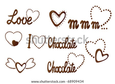 Chocolate collection of love design elements - stock vector