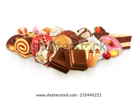 Chocolate, confectionery vector illustration - stock vector