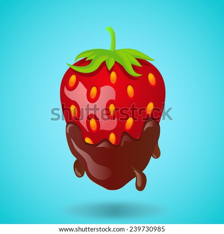 chocolate covered strawberries - stock vector