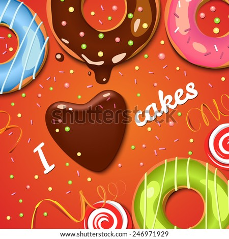 Chocolate donuts. Chocolate spot. Colorful vector background. Sweets. Cupcakes. Holidays backdrop. Food. - stock vector