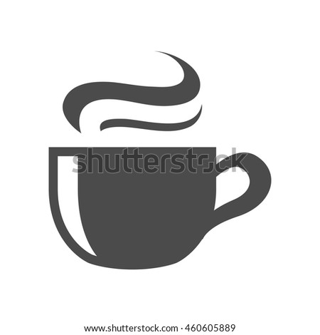 Chocolate drink icon in black and white grey single color. Warm hot sweet energy - stock vector