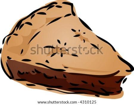 Chocolate filling Pie, hand drawn retro illustration - stock vector