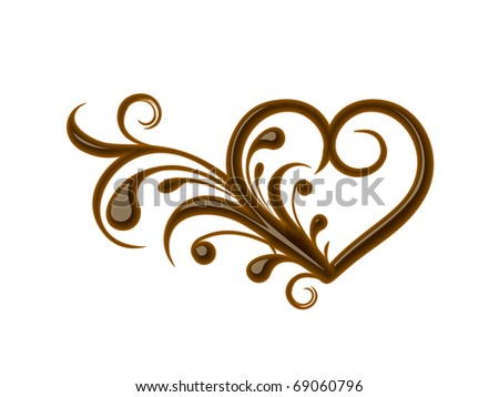 Chocolate floral heart for valentine design element. - stock vector