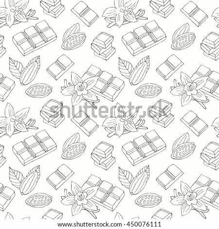 Chocolate hand drawn seamless . Surface decoration with vanilla flower, cacao bean. Vector background. - stock vector