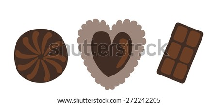 Chocolate heart for Valentine's day on white background. Vector illustration - stock vector