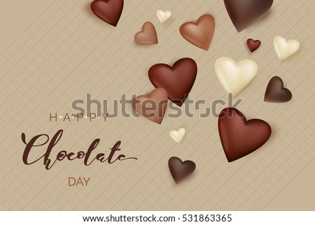 Chocolate hearts on waffle background. Happy Chocolate day poster. Vector illustration