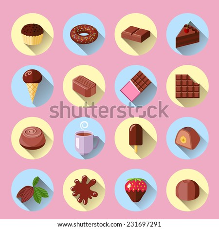 Chocolate ice cream sweet food bar flat icons set isolated vector illustration - stock vector