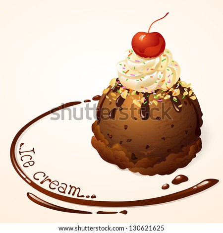 Chocolate Ice cream with chocolate sauce - stock vector
