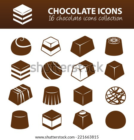 chocolate icons - stock vector