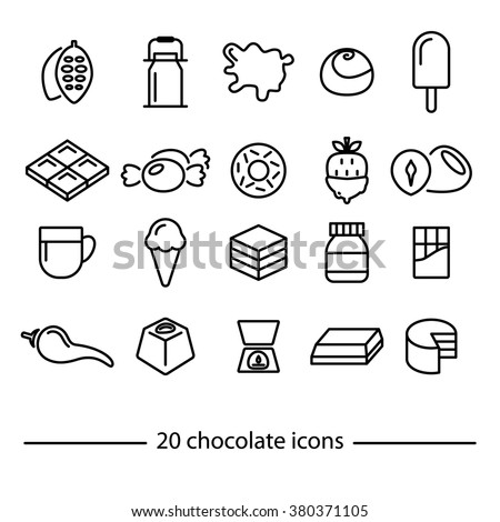 Chocolate icons. Line icons. Sweet food. Chocolate products. - stock vector