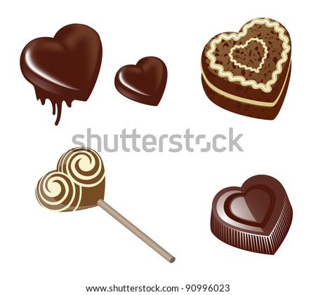 Chocolate in the form of heart - stock vector