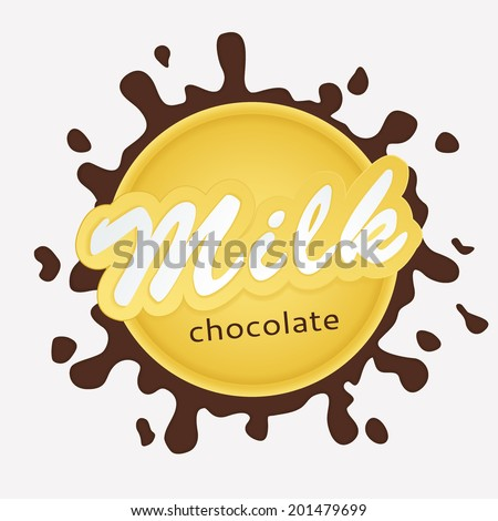 Chocolate milk label lettering - vector - stock vector