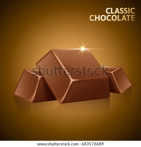 Chocolate pieces element, closeup chocolate in 3d illustration isolated on brown background