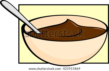 chocolate pudding in bowl with spoon - stock vector