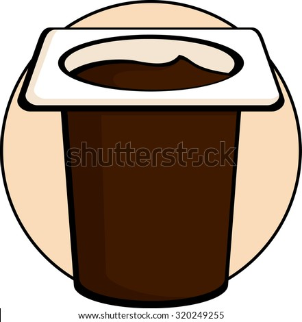 chocolate pudding in disposable cup - stock vector
