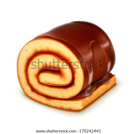 Chocolate roll cake, detailed vector - stock vector