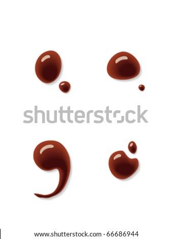 Chocolate semicolon and colon sign - stock vector