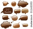 chocolate speech bubbles, chat or dialog bubbles, vector isolated - stock vector