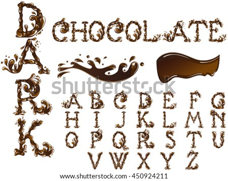Chocolate splash alphabet - stock vector