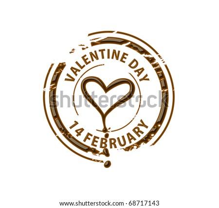 Chocolate stamp symbol for valentine design element. - stock vector