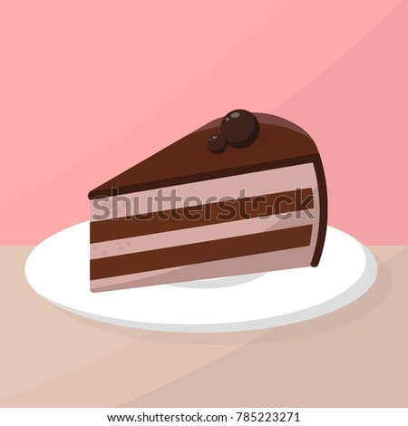 Chocolate tasty cake on plate in restaurant or cafe vector flat art illustration. & Chocolate Tasty Cake On Plate Restaurant Stock Vector (2018 ...