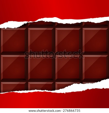 Chocolate under red packing - stock vector