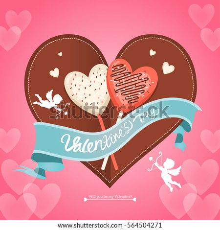 Chocolate Valentines Day Event Couple Day Stock Vector 564504271 ...