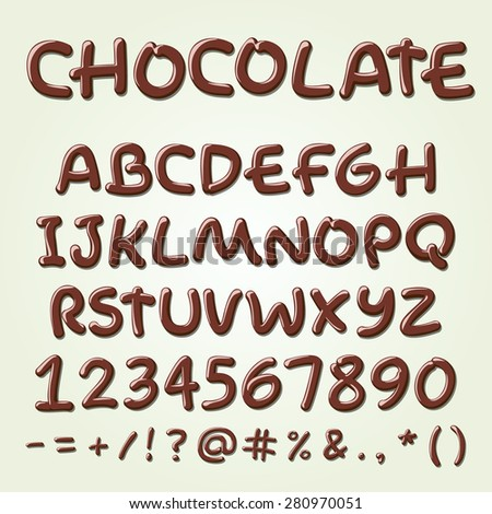 Chocolate vector alphabet. Sweet ABC letters, hand-made font. - stock vector