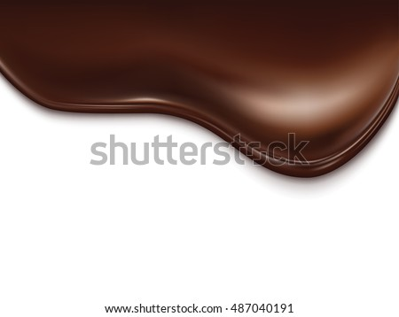 Chocolate wave on white background