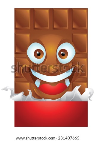Chocolate wrapping cartoon character laughing isolated - stock vector
